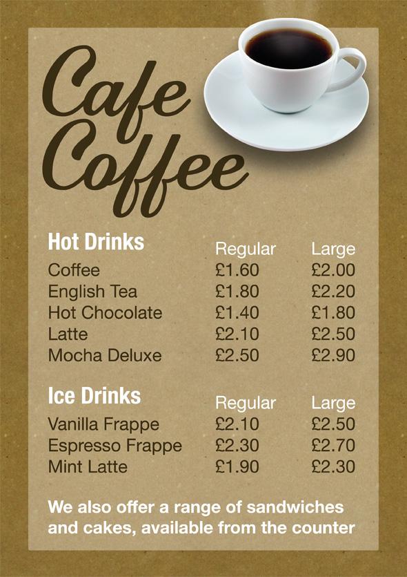 cafe coffee menu design custel design leicester uk