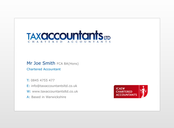 Tax accountants ltd business card design custel design leicester uk an accountancy firm needed business card which matched their current brand identity we used incorporated our clients logo and colour scheme into the colourmoves